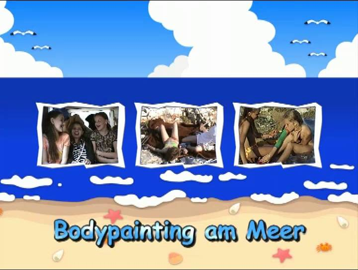 Naturistin Bodypainting am Meer - Poster