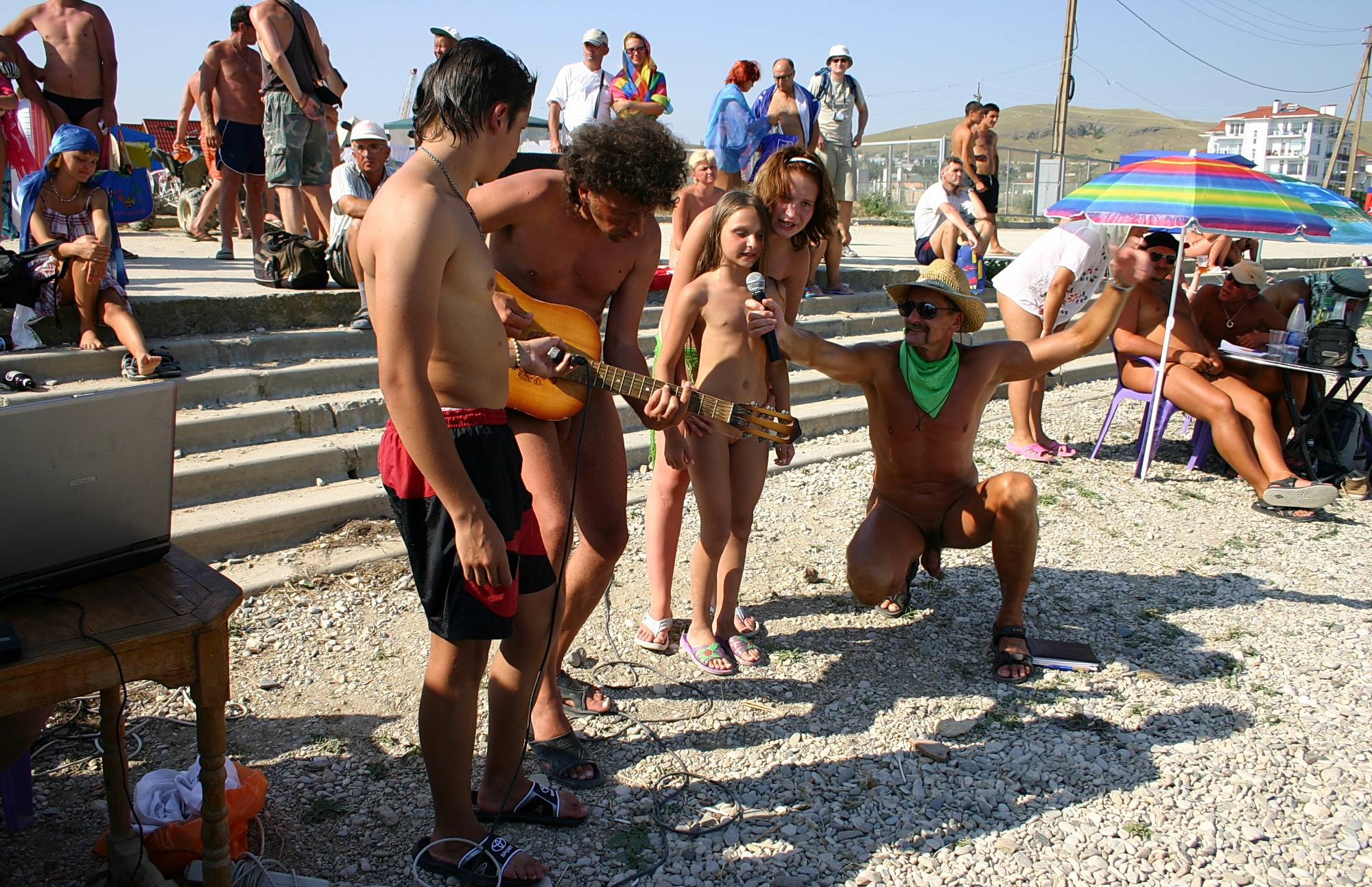 Pure Nudism Photos Nude Party By The Steps - 1